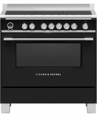 F&P Freestanding Black Induction Cooker 90Cm