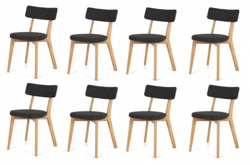 Prego Dining Chair Dark Grey Fabric Set Of 8