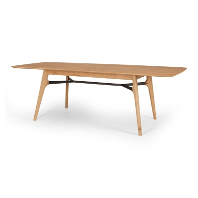 Flow Oak & Brushed Metal Ext Dining Table 1.8-2.4M