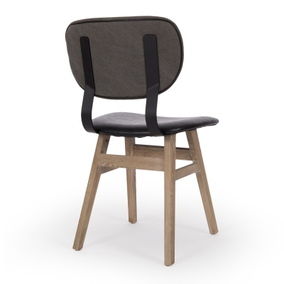Lappland Dining Chair Pu Seat & Brush Canvas Back