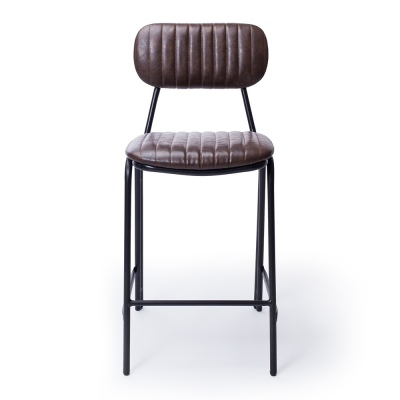 Datsun Vintage Dark Brown Barstool Pu & Metal