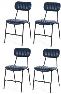 Datsun Vintage Blue Dining Chair Set Of 4