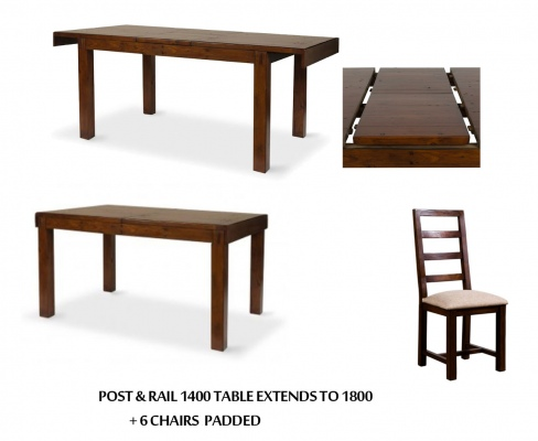 Post And Rail Dining Suite + 6 Chairs 1400X1000