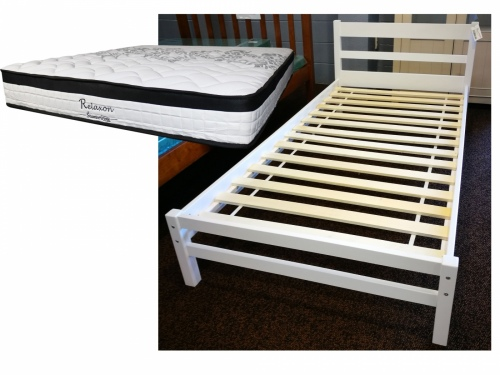 Small Kids White Single Slat Frame + Relaxon Matt