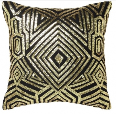 L&M Ritz Gold Square Filled Cushion