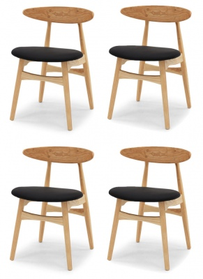 Kaiwaka Set Of 4 Dining Chairs Natural Ashwood Pu