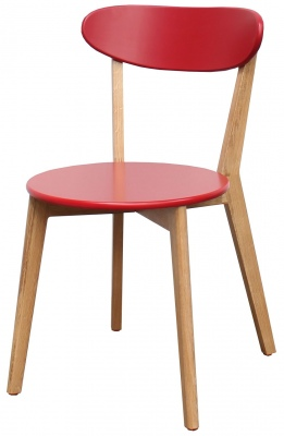 Radius Red Dining Chair Oak Legs