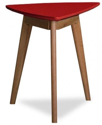 Radius Red Lamp Table Oak Legs 600X400X550H