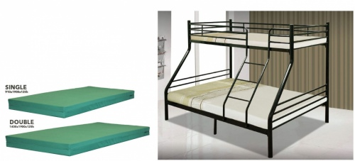 Saturn Double Single Bunk Black + 2 Foam Mattress