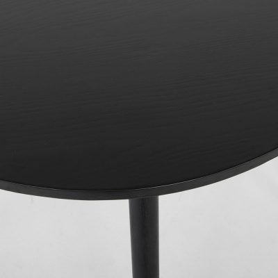 Linea Black 1200 Round Dining Table Oak