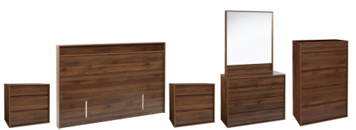 Skov 5Pc Bedroom Suite Dark Walnut Compact