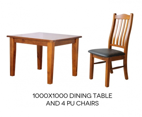 Paihia Timber Dining Suite 1000X1000 + 4 Pu Seats