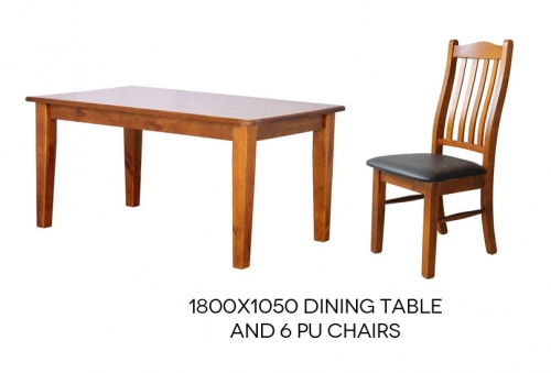 Paihia Timber Dining Suite 1800X1050 + 6 Pu Seat