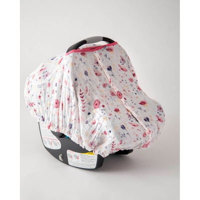 Cotton Muslin Carseat Canopy Fairy Garden