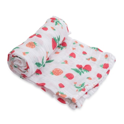 Single Cotton Muslin Swaddle Strawberry