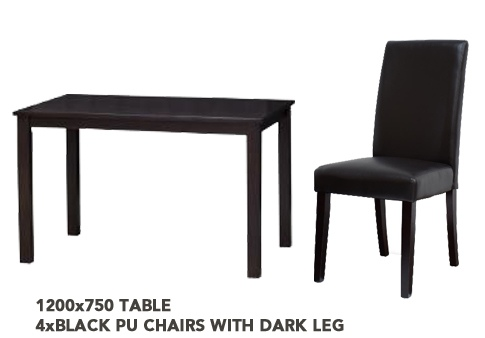 Venice 1200 Dark Wood Dining Suite + 4 Chairs