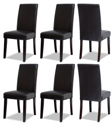 Vienna Pu Dark Brown Dining Chair Set Of 6