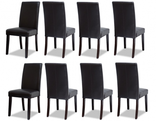 Vienna Pu Dark Brown Dining Chair Set Of 8