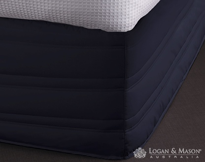 L&M Cotton/Poly Navy Super King Easy Fit Valance