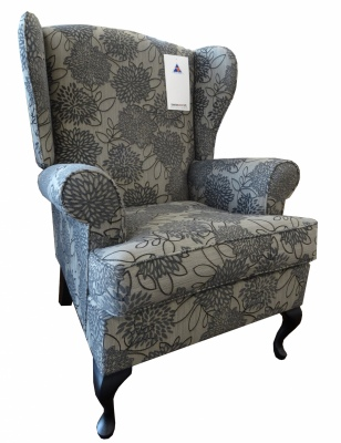 Wing Back Chair Jenca Charcoal Fabric NZ Made