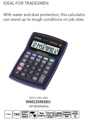 Casio Water And Dust Protected Calculator