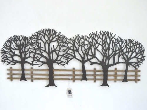 Fence Lined Trees Metal/Wood Wall Hanging 48X118X4