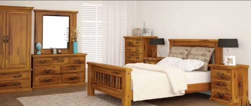 American Rustic Queen Bedroom Suite Solid Pine Tim