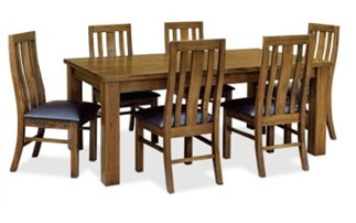 Ashton 7Pc Dining Suite 1900 Table 6 Chairs Pu Sea