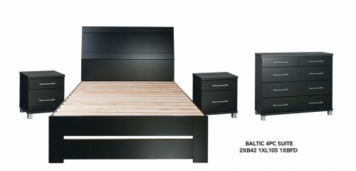 Baltic Black 4Pce Bedroom Suite W Double Slatbed