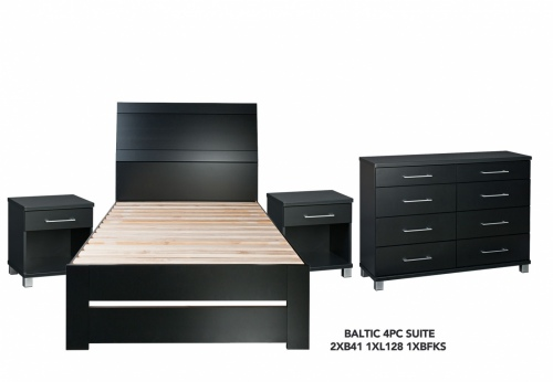 Baltic Black 4Pce Bedroom Suite W K/Single Slatbed