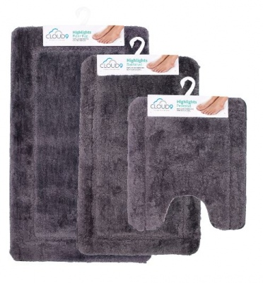 Cloud 9 Highlights Slate 3Pc Bathmat Set