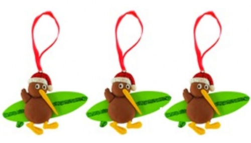 Clay Kiwi Surfboard Xmas Decoration Set Of 3