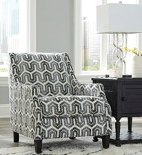 Gilmer Accent Chair In Gunmetal Patterned Fabric