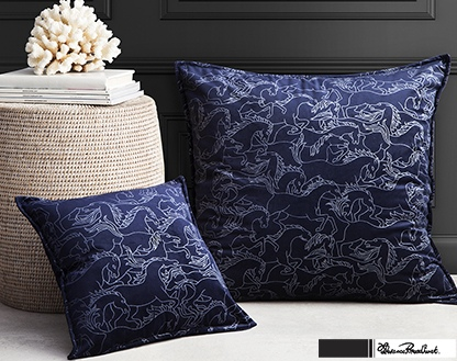 Florence Horses Stampede Navy Square Cushion