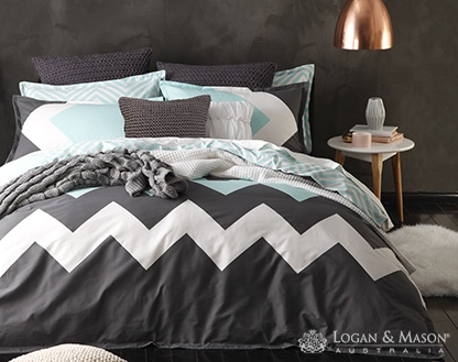 L&M Marley Mint Single Duvet Cover Set