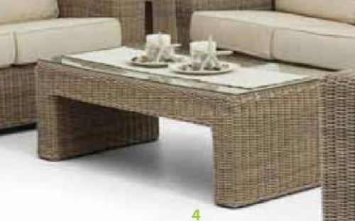 Maui Outdoor Coffee Table Wicker Tempered Glass