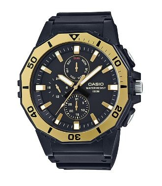 Casio Basic Divers Analogue Watch Black Gold