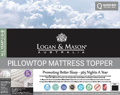 L&M Pillowtop K/Single Mattress Topper 100% Cotton