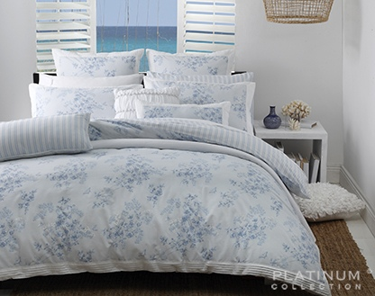 Platinum Bronte Blue Double Duvet Cover Set