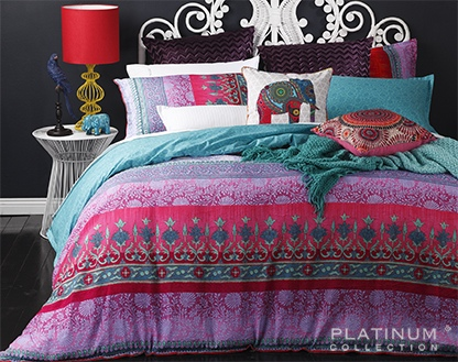 Platinum Sari Magenta King Duvet Cover Set