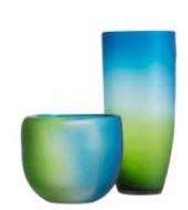 Shadow Vase Blue Green 15.5X15.5X36Cm