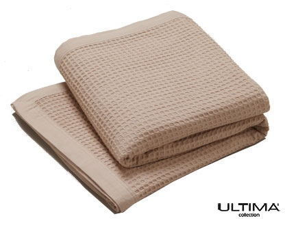 L&M Cotton Waffle Blanket Linen Queen/King