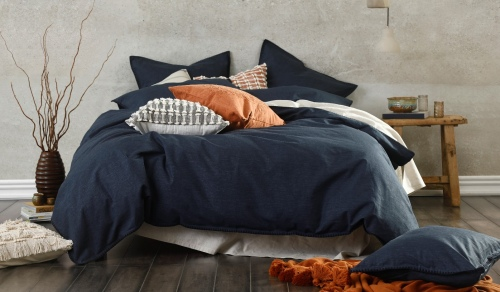 Stitch Navy Linen Cotton Super King Duvet Cover