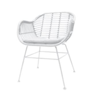 Avalon White Outdoor Chair Steel & Wicker 58X58X82