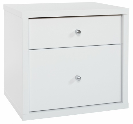Cosmo 2 Draw Bedside Cabinet White 474X459H