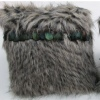 Ponga Grey Faux Fur Lrg Cushion Filled 45X45CM