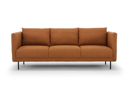 Kano 3 Seater In Rust Linen Fabric With Black Meta