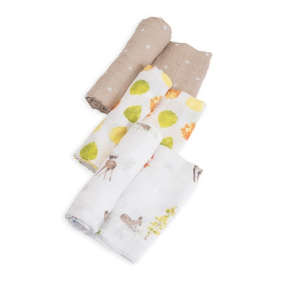 Cotton Muslin Swaddle 3Pk Oh Deer