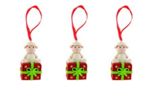 Clay Lamb On Giftbox Xmas Decoration Set Of 3