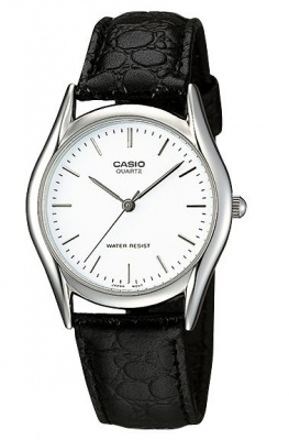 Casio Classic Black Leather Silver Analogue Watch